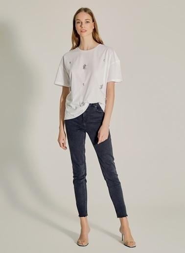 NGSTYLE Taş İşlemeli Tshirt Beyaz